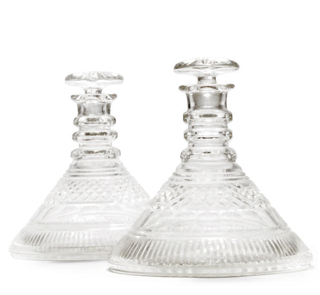 A PAIR OF CUT-GLASS SHIPS DECA