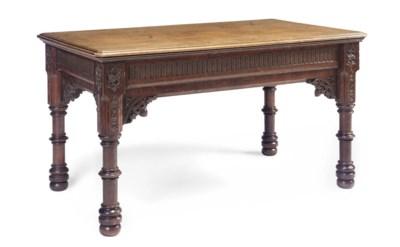 A VICTORIAN OAK CENTRE TABLE
