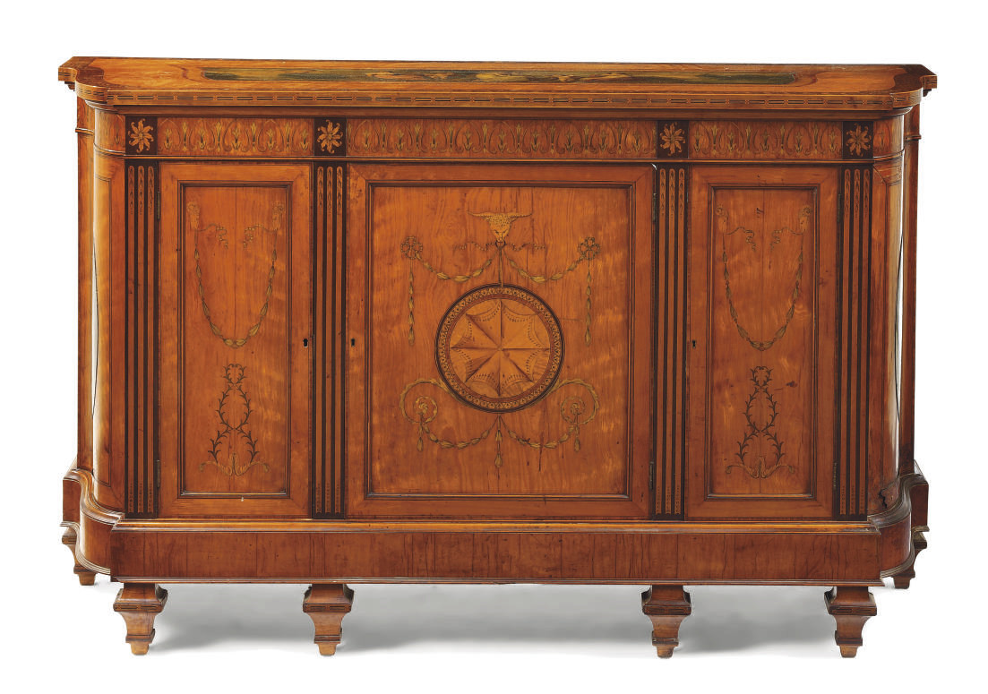 A VICTORIAN SATINWOOD AND TULI