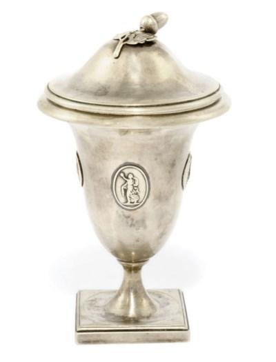 A GEORGE III SILVER SUGAR VASE