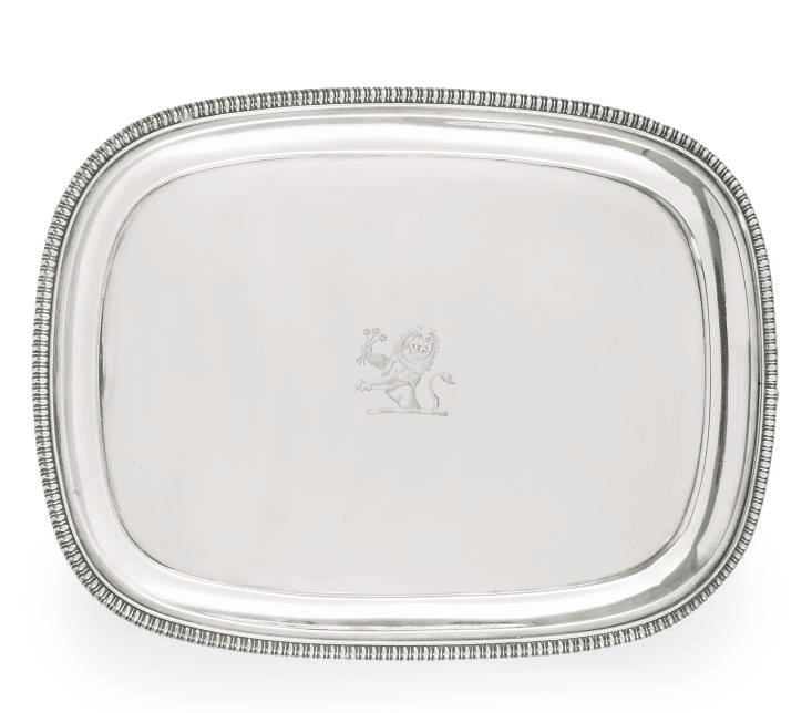 A GEORGE III OBLONG SILVER SALVER
