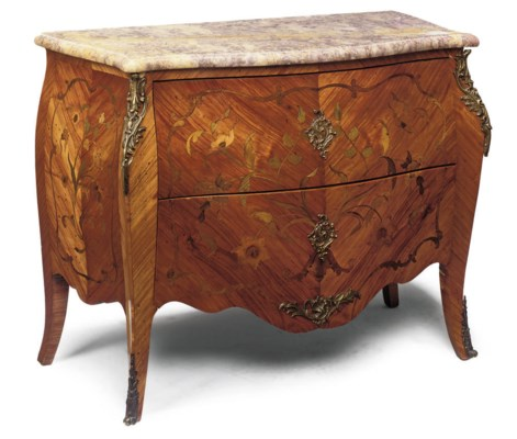A FRENCH TULIPWOOD FLORAL MARQ