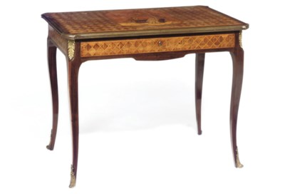 A FRENCH ROSEWOOD MARQUETRY AN