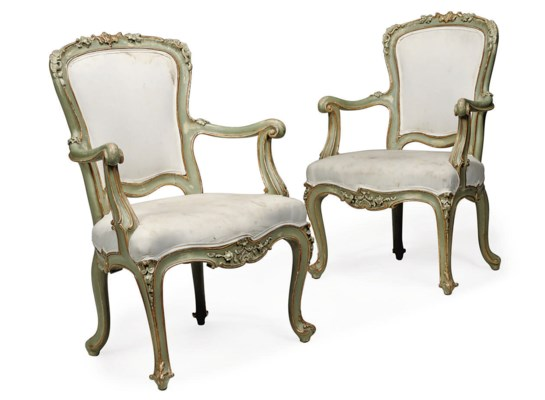 A PAIR OF ITALIAN PAINTED PARC