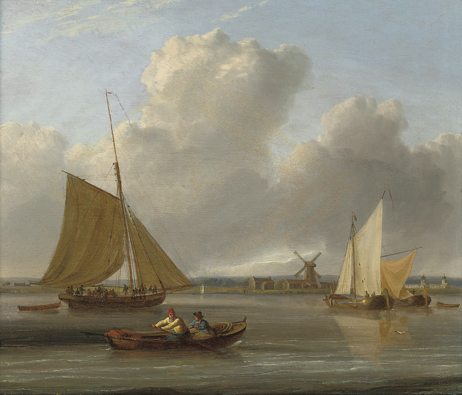 The ferry crossing; and A crowded cutter and fishing barges on the estuary (illustrated)