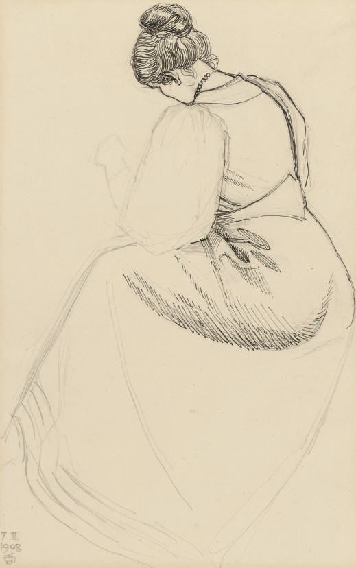 Study of a seated woman viewed from behind (illustrated); and 'At the harpsichord'