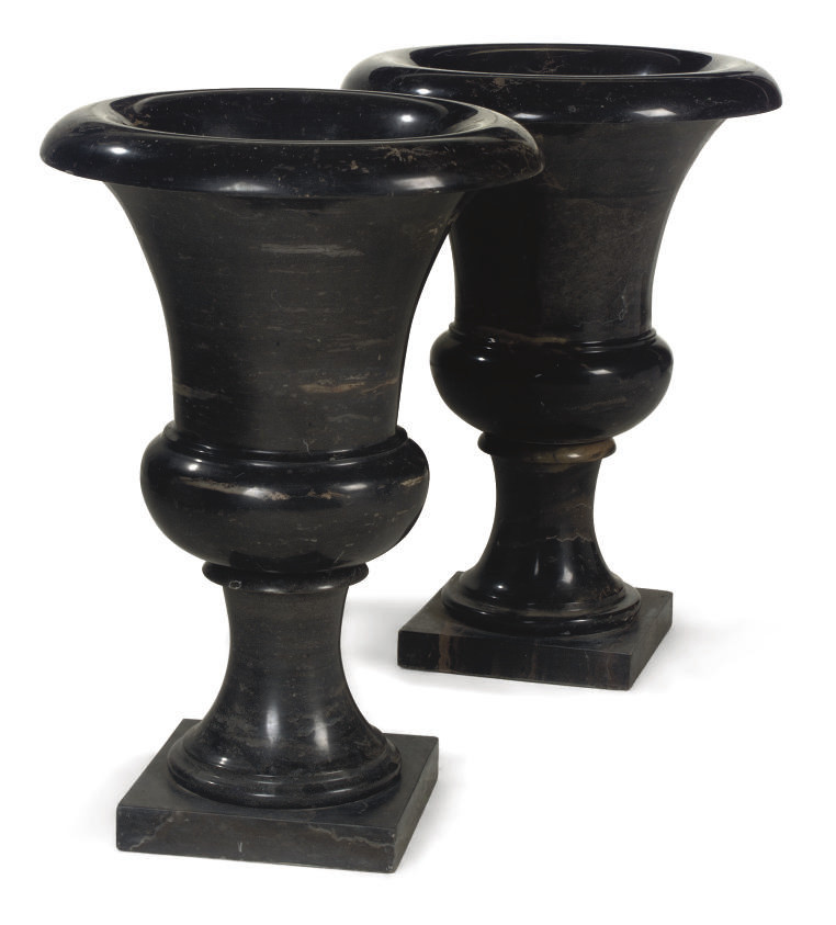 A PAIR OF VEINED GREY MARBLE C