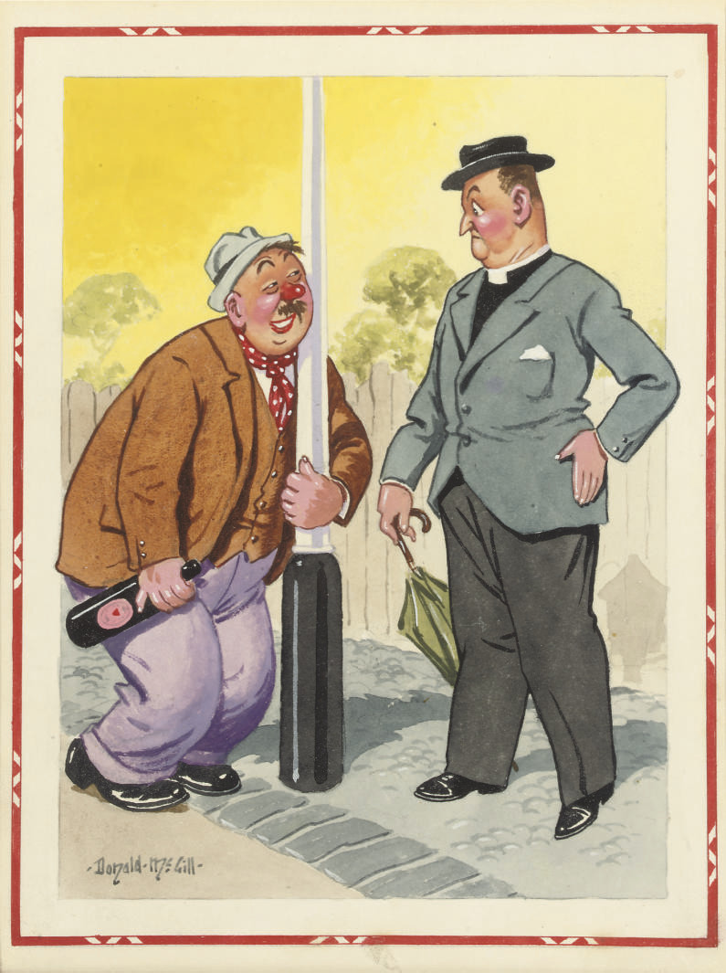 'I think Scotsmen make such good gardeners'; 'Ah Higgins, I'm afraid I shan't meet you in heaven - why blesh my shoal, Parson, what 'ave you been up to now?' (illustrated); and '- Well, Dear, I wouldn't say that I'd run after men, though I may have walked rather fast at times!'
