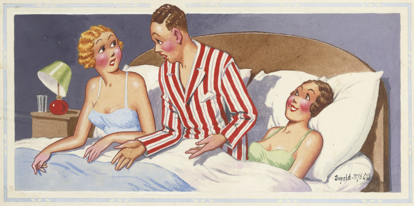 'I can't persuade her that she only came to our wedding as a bridesmaid' (illustrated); 'Burglars! Well go down and scare hell out of 'em with your pajamas!'; and 'A distraction from the newspaper'