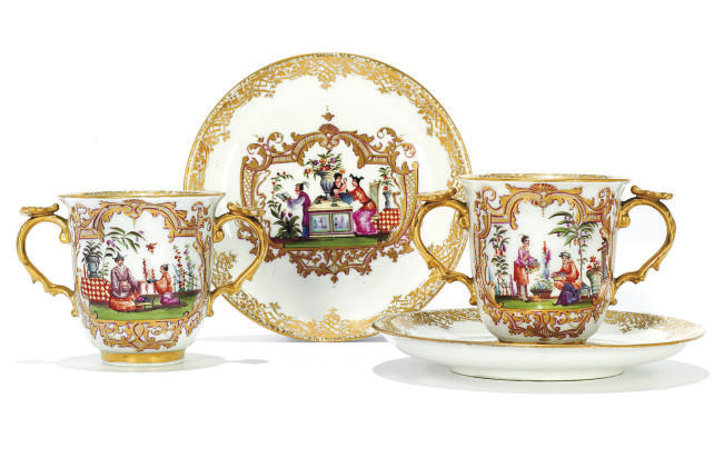 A PAIR OF MEISSEN TWO-HANDLED