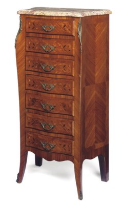 A FRENCH TULIPWOOD, MARQUETRY-