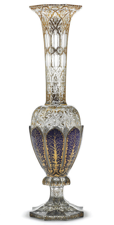 A BOHEMIAN BLUE-FLASH VASE