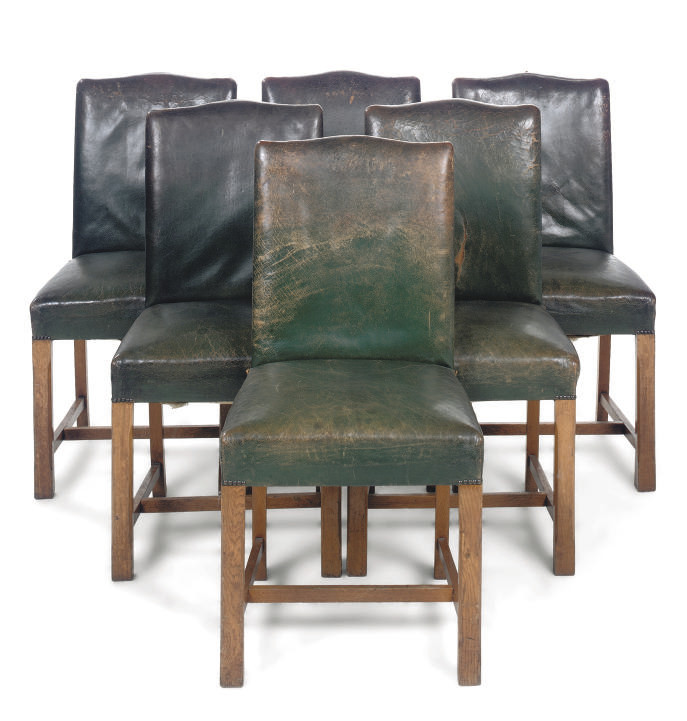A SET OF SIX OAK DINING-CHAIRS