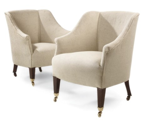 A PAIR OF TUB-ARMCHAIRS