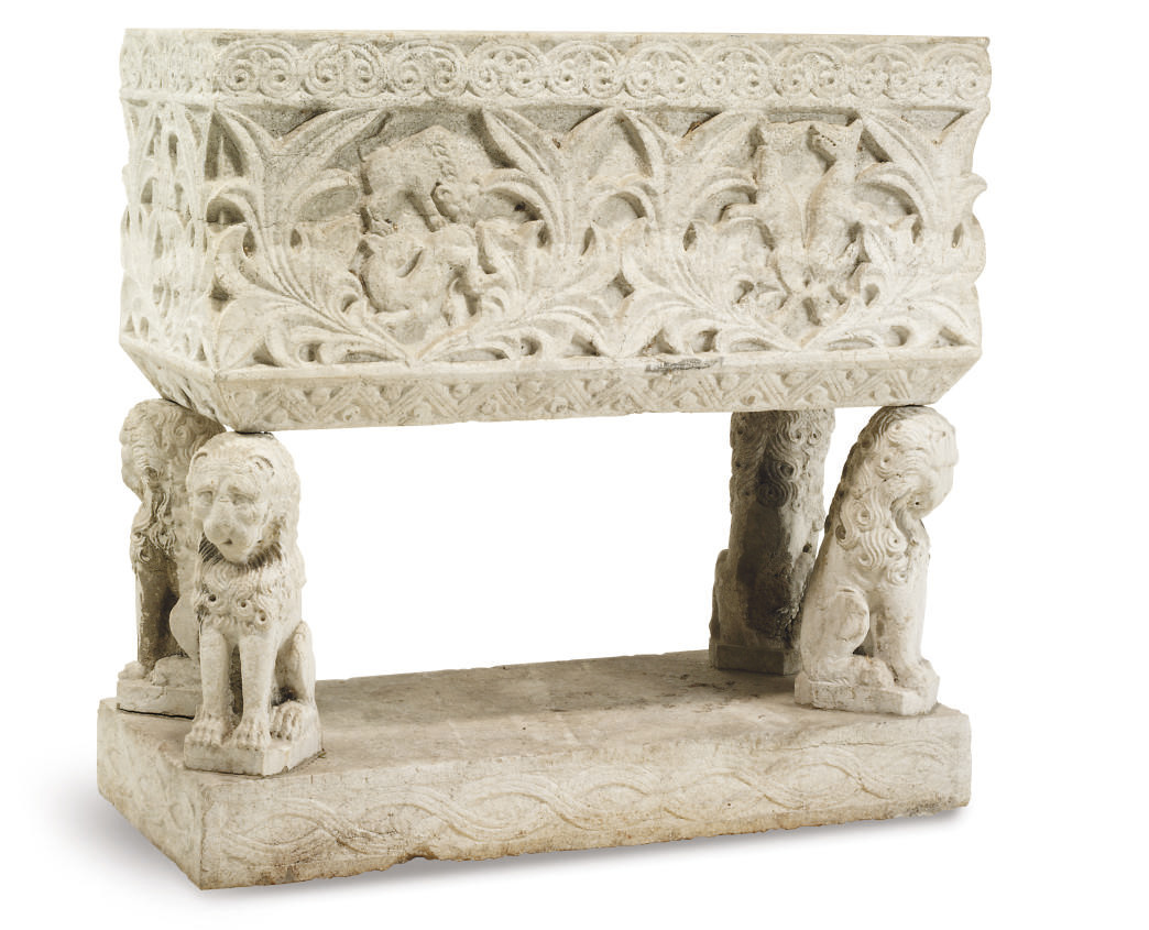A VICTORIAN CARVED STONE TROUG