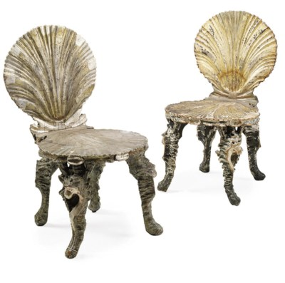 A PAIR OF VENETIAN PAINTED AND