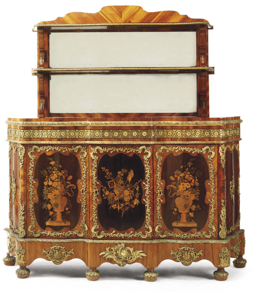 A FRENCH GILT-METAL-MOUNTED MA