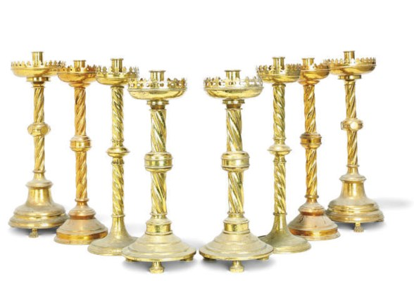 FOUR PAIRS OF ENGLISH BRASS AL