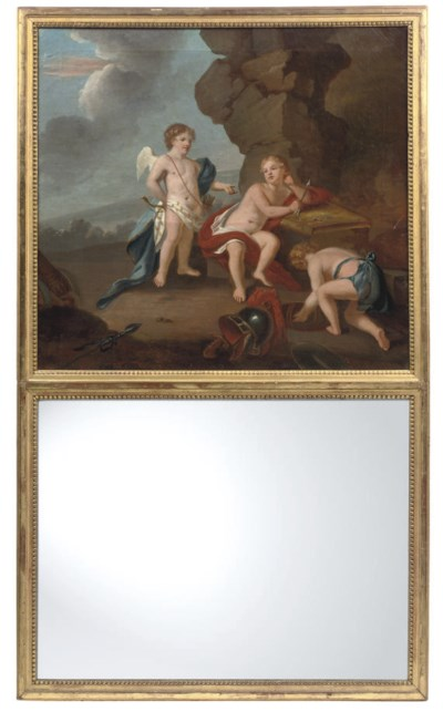 A GILTWOOD-MOUNTED OIL ON CANV