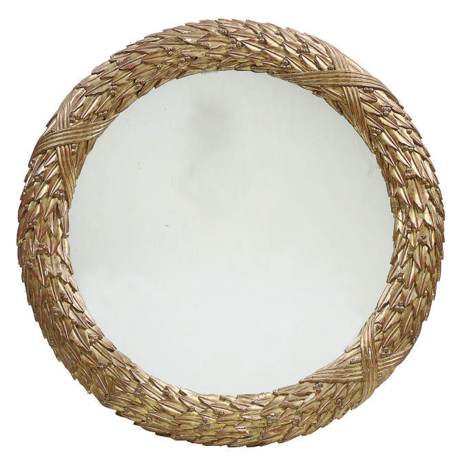 A CIRCULAR CARVED AND GILT HAR
