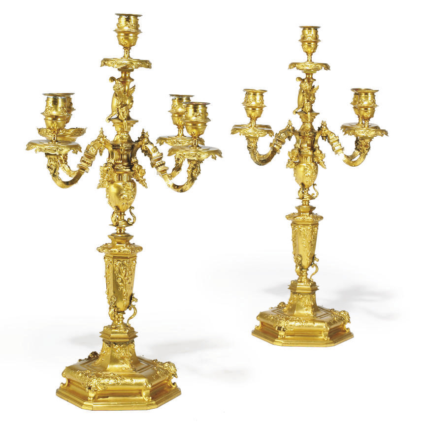 A PAIR OF FRENCH GILT BRONZE F