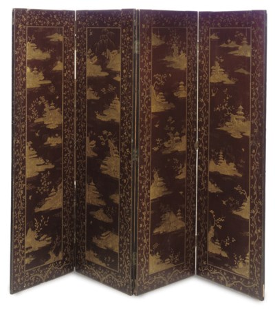 A BROWN AND GILT-JAPANNED FOUR