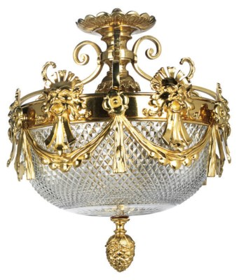 A CUT GLASS AND GILT BRONZE CE
