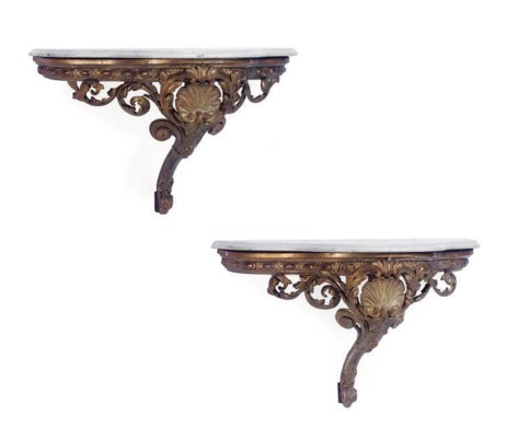 A PAIR OF GILTWOOD AND GESSO L