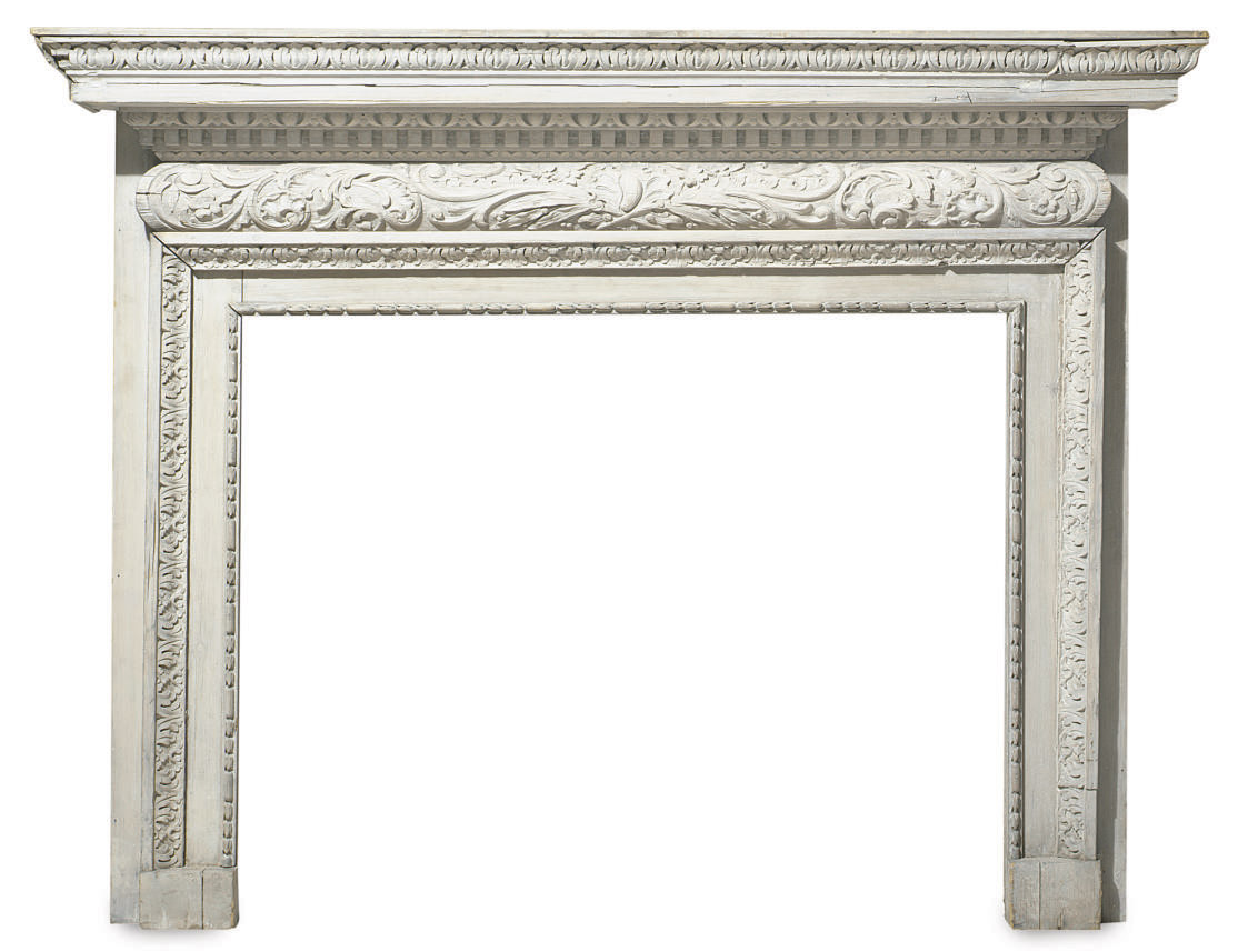 A PAINTED PINE CHIMNEYPIECE