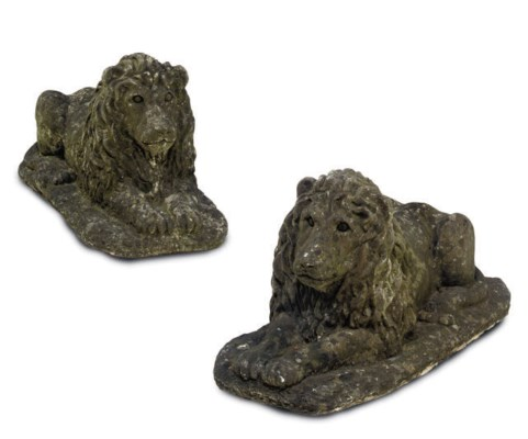 A PAIR OF COMPOSITE STONE LION