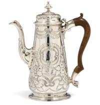 A GEORGE II ROCOCO SILVER COFFEE POT