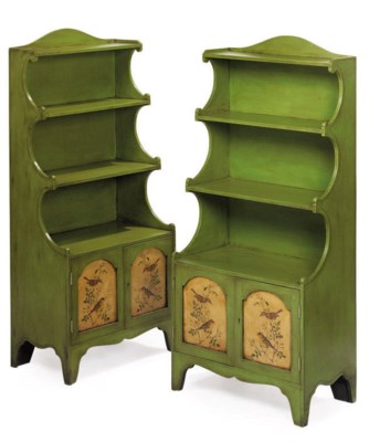 A PAIR OF GREEN PAINTED OPEN B