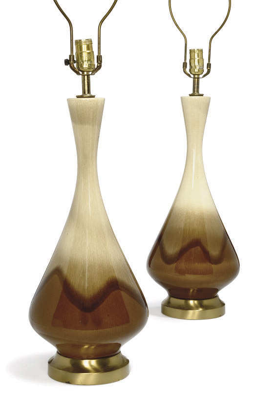 A PAIR OF AMERICAN BROWN GLAZE