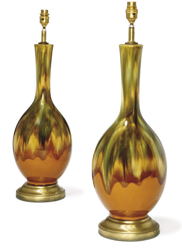 A PAIR OF AMERICAN GLAZED CERA