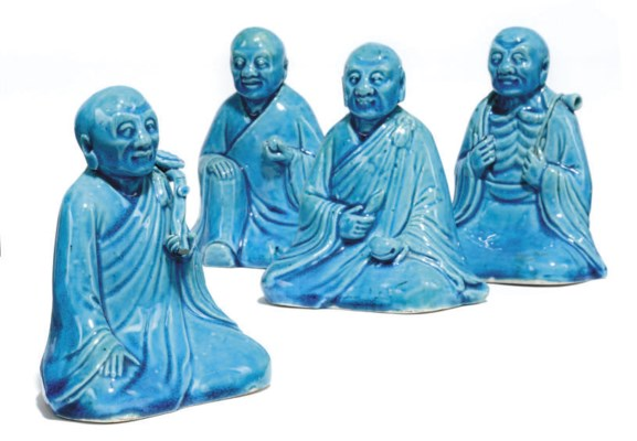 A SET OF FOUR CHINESE TURQUOIS