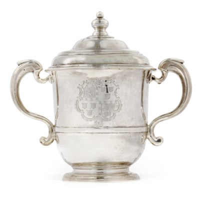 A QUEEN ANNE SILVER TWO-HANDLE