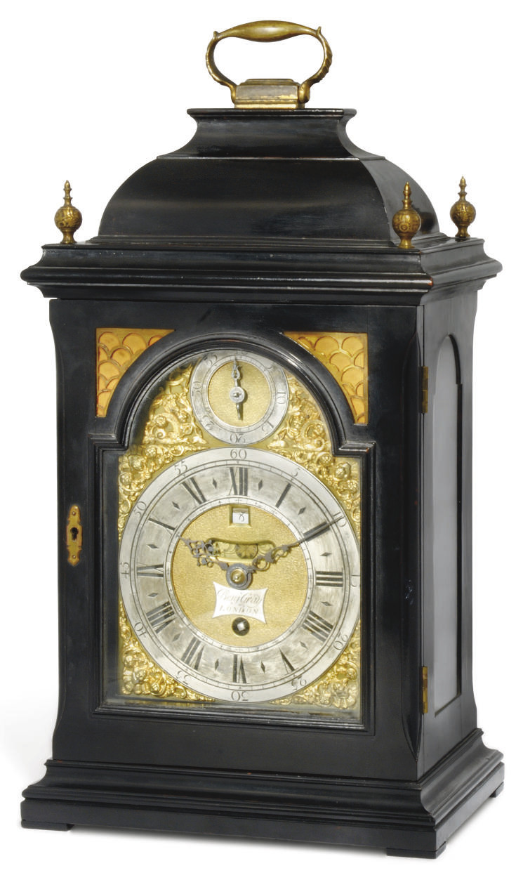 A GEORGE II EBONISED TIMEPIECE