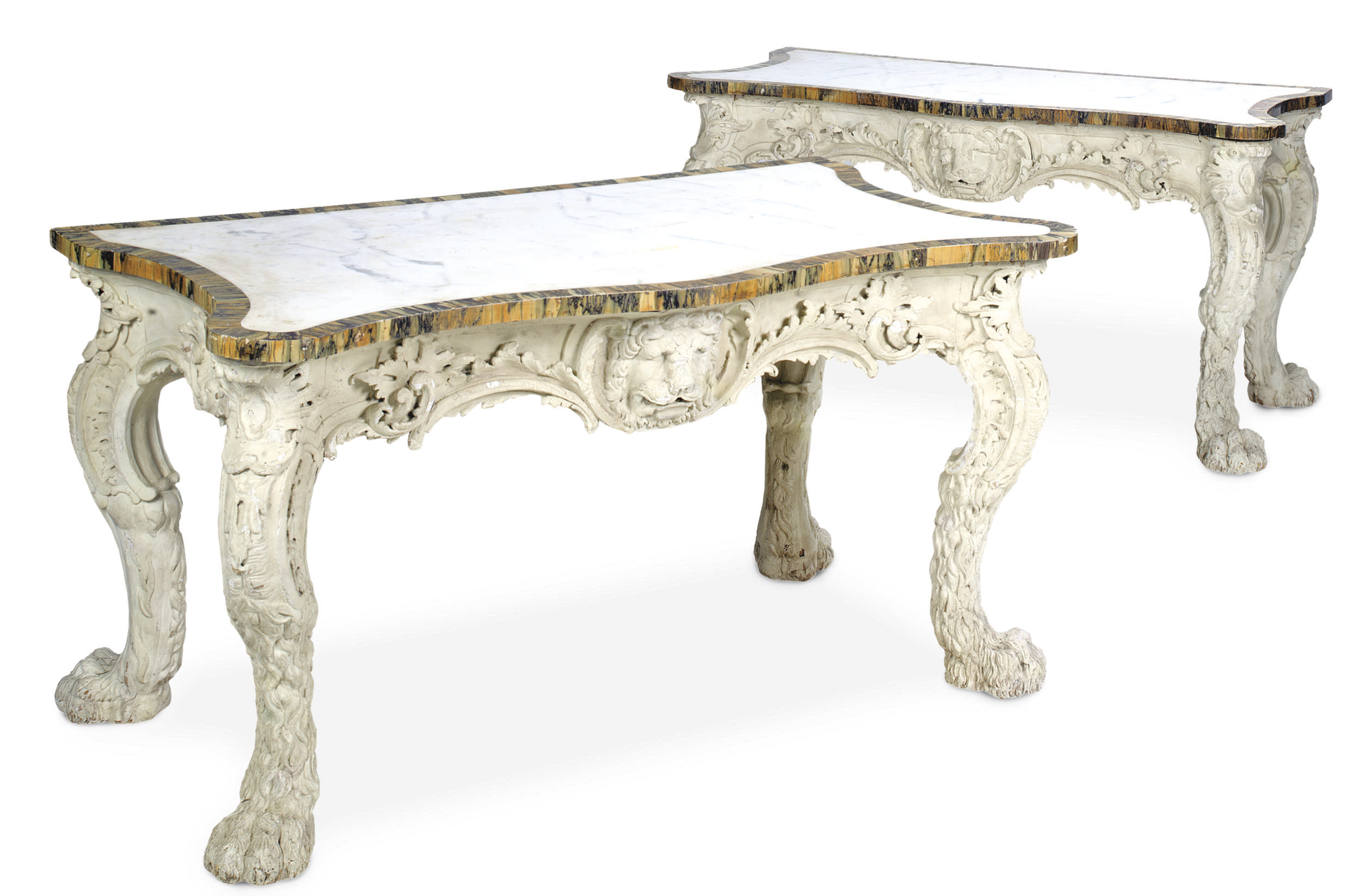 A PAIR OF CARVED WHITE-PAINTED