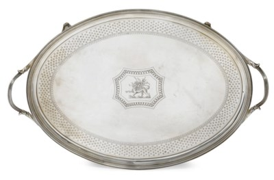 A GEORGE III OVAL TWO-HANDLED