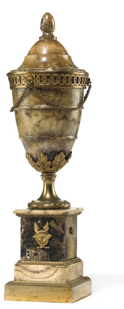 A GEORGE III ORMOLU MOUNTED BL