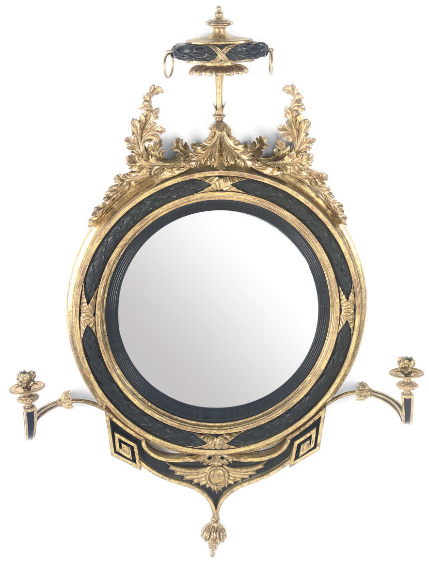 A REGENCY GILT AND EBONISED CO