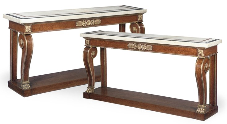 A PAIR OF REGENCY AMBOYNA AND