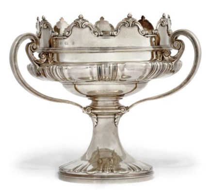 A LARGE THREE-HANDLED SILVER T