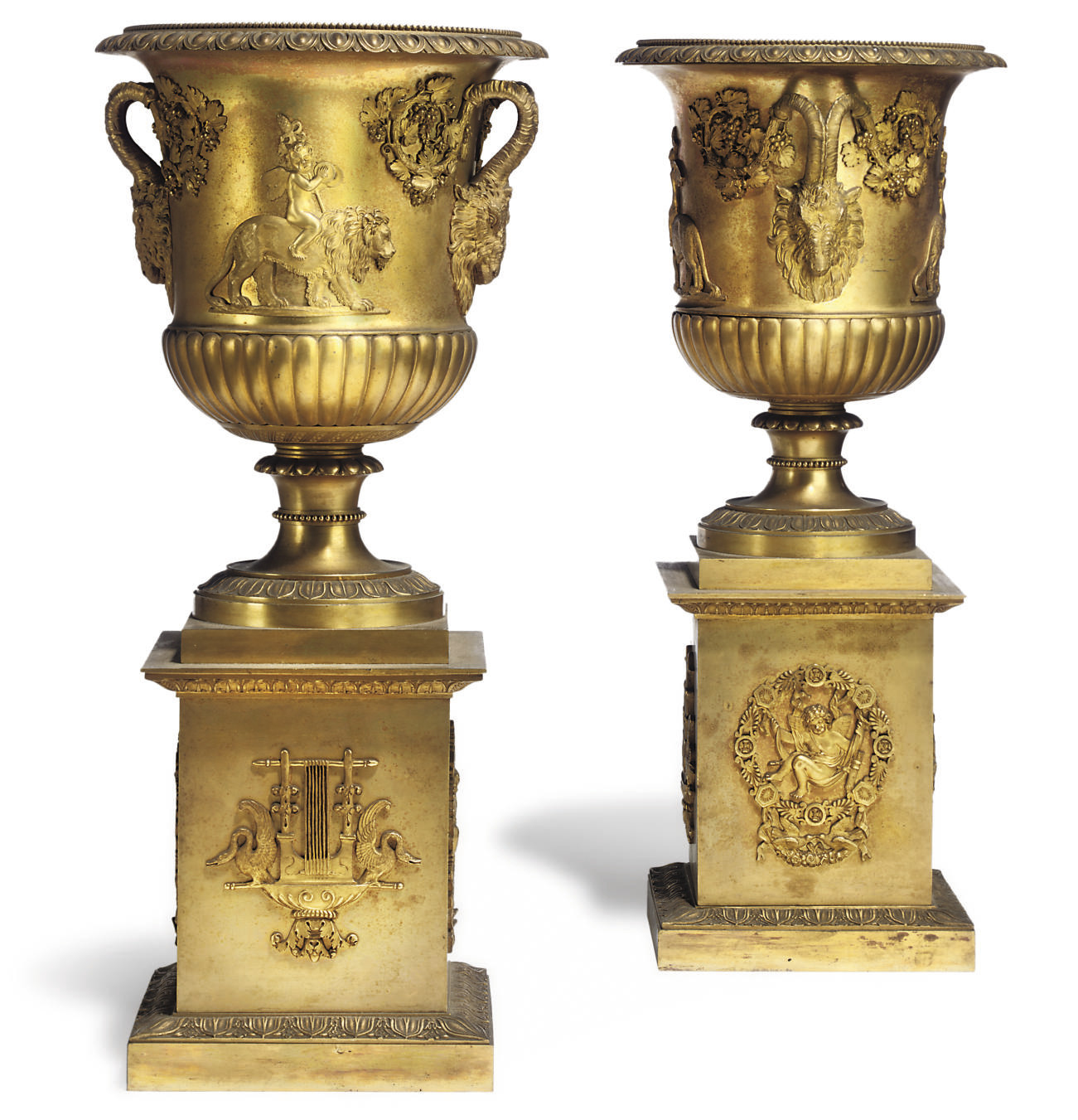 A PAIR OF ITALIAN ORMOLU VASES