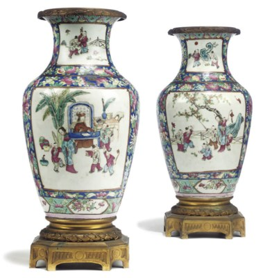 A PAIR OF ORMOLU MOUNTED CHINE