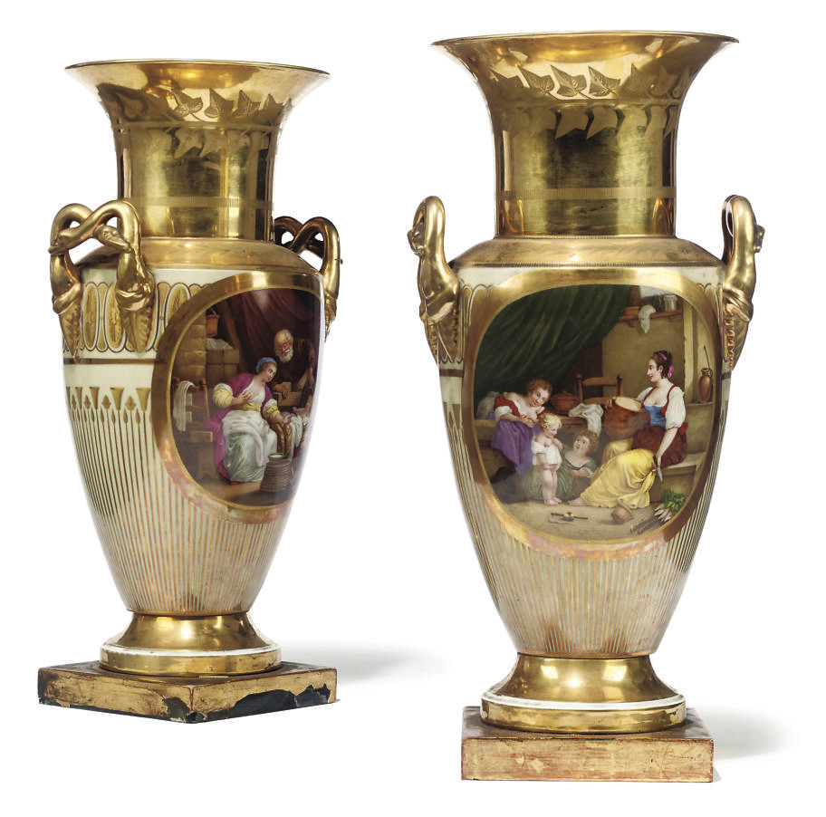 A PAIR OF PARIS TWO-HANDLED AM
