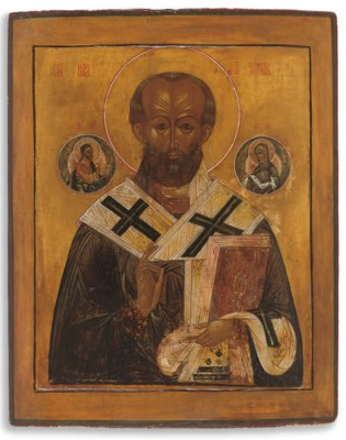 A LARGE ICON OF ST. NICHOLAS T