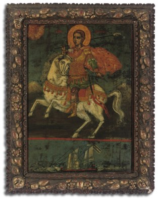 AN ICON OF ST. PROKOPIOS ON HO