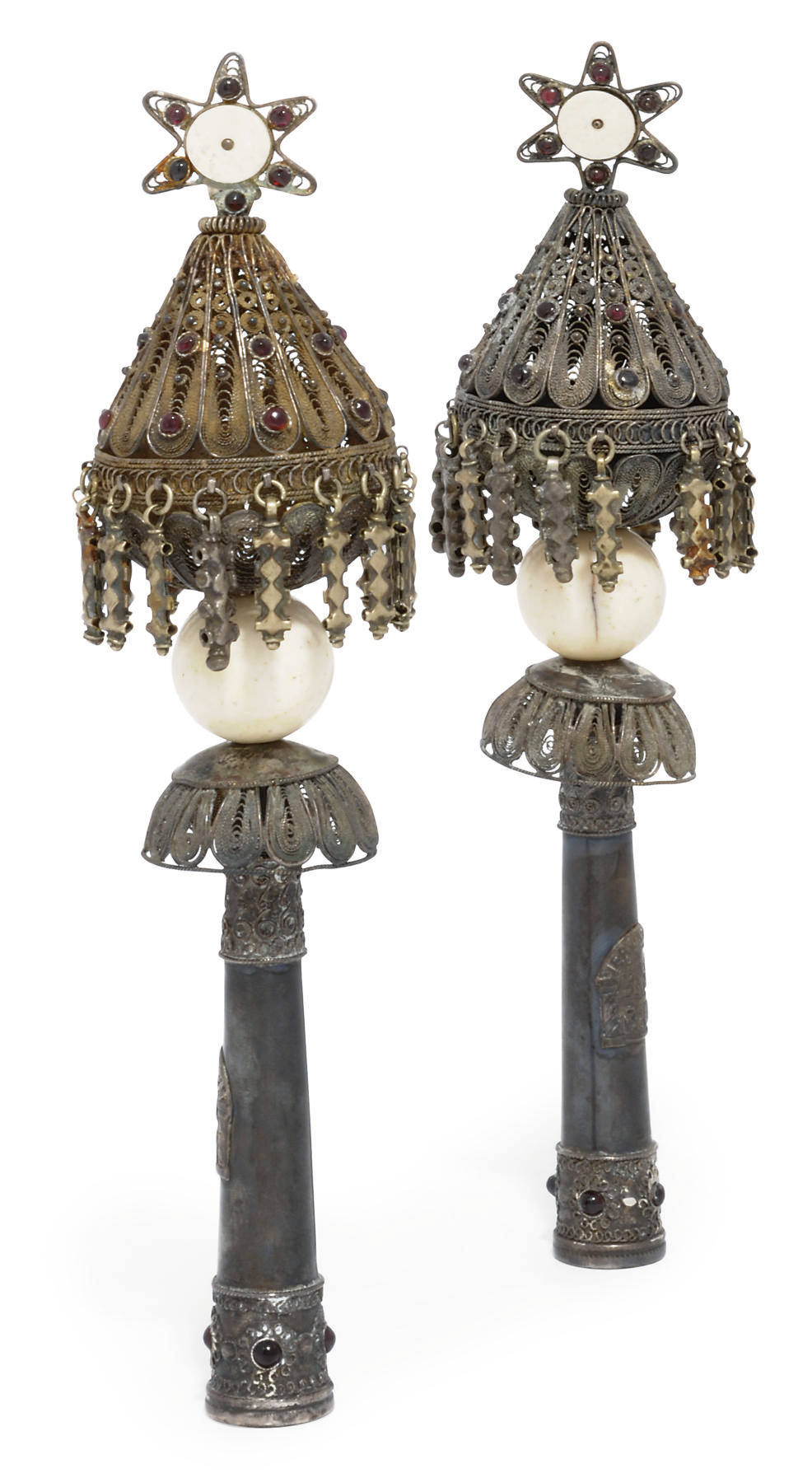 A PAIR OF PALESTINIAN SILVER T