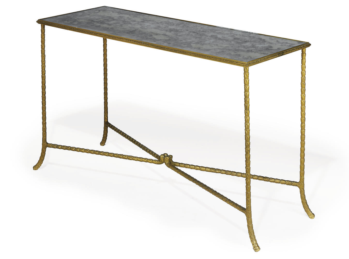 A FRENCH GILT BRONZE CONSOLE T
